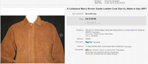 A Collezioni Men's Brown Suede Leather Coat Size XL Made in Italy NWT Listed 7/26/15, Sold 12/4/15 $139.99