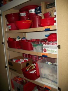 The Red Kitchen Items in the Garage Cabinet