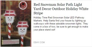 Red Solar Snowman Path Lights