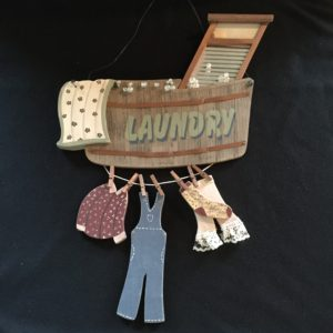 Laundry Tub Washboard Clothes Line Pins Bubbles Wood Sign Room Decor Sold for $34.99